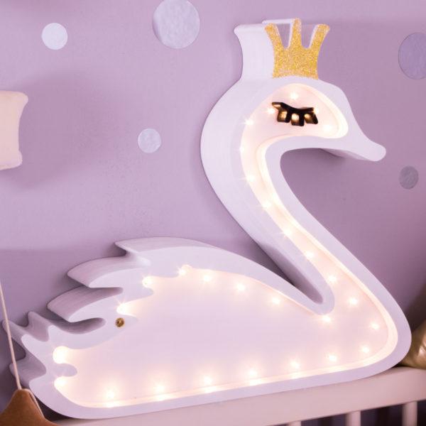 drewniana lampka nocna - łabędź