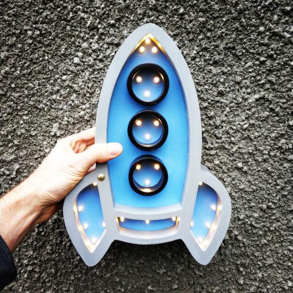 lampka rakieta szara niebieska